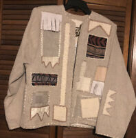 Crystal Handwens-Women's tan Jacket-long sleeve-patches-Size medium-Lined