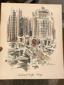 Vtg John Haymson MICHIGAN BOULEVARD Chicago Watercolor Print Shadowbox framed
