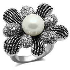 Ladies flower ring pearl statement cocktail cz stainless steel size j, L  2877