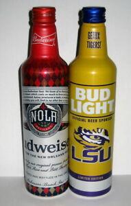 2021 Budweiser / Bud Light Aluminum Beer Bottles - NOLA Pelicans & LSU Tigers
