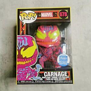 🔥🔥🔥 Funko Pop Marvel Black Light Carnage #678 FunkoShop Exclusive w protector
