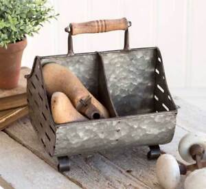 Short Perforated & Divided Feed Trough Caddy / Organizer With Handle