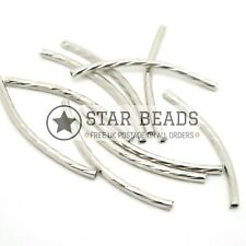 5 X BRASS CURVED TUBE BEAD FINDINGS SILVER PLATED 35X2MM
