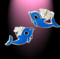 Kinder Ohrstecker Ohrringe süßer Delfin  925 Silber