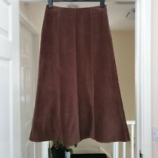 Per Una Ladies Long Winter Skirt Size 10 Brown Cord Cotton Paneled Flared Lined
