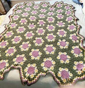 Vintage Handmade Crochet FLORAL AFGHAN Blanket 73 x 54 Purple Yellow Scalloped
