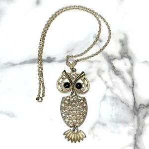 LOVELY VINTAGE SARAH COVENTRY GOLD TONE OWL PENDANT NECKLACE!