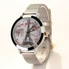 Women Lady LOVE Eiffel Tower Stainless Steel Quartz Analog Bracelet Wrist Watch