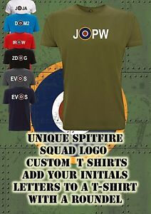 Spitfire target personalised Initials roundel T Shirt WW2 RAF Squadron Hurricane