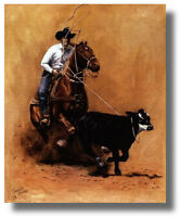 Rodeo Cowboy On Horse Calf Roping Carolyn Cheney Wall Art Print Picture