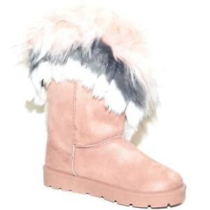 Stivaletti rosa donna imbottiti di lana caldi con pelliccia sfumata doposci con