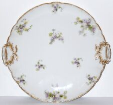 Antique Haviland Limoges Round Serving Plate Purple Flowers CH Field GDA France