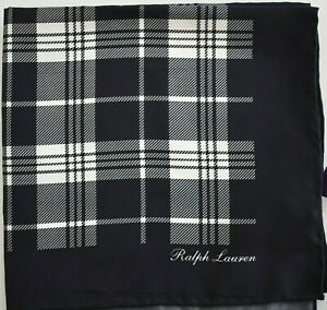 New Auth RALPH LAUREN PURPLE LABEL PLAID CHECK Print 100% SILK Pocket Square