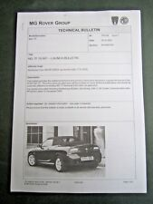ROVER MG TF - RARE UK TECHNICAL BULLETIN for the 'New TF 2005 model'