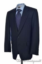 H. HUNTSMAN & SONS Savile Row Blue Striped 100% Wool Jacket Pants SUIT - 39 R