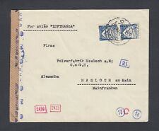 PORTUGAL 1942 WWII CENSORED COVER LISBON TO HASLOCH GERMANY VIA LUFTHANSA