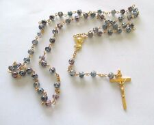 Beautiful Rosary with Blue, Burgundy Beads, Golden Tone Metal, Stunning