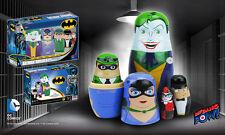 "DC COMICS ""BATMAN ROGUES WOOD NESTING DOLLS"" set of 5 NEW IN BOX"