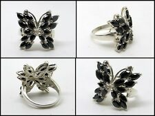 925 Sterling Silver, Handcrafted Black Onyx Butterfly Dress Ring Size 6.5 NEW