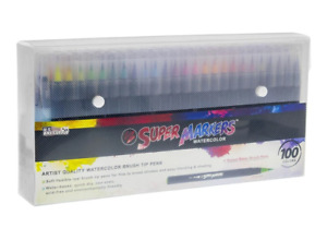 100 Color Super Markers Watercolor Soft Brush Tip Art Pens Set Brand New