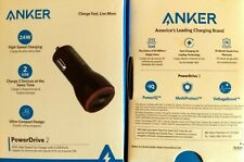 Anker Powerdrive 2, 24W Compact High-Speed Car Charger with 2-USB Ports, New
