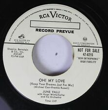 Pop Promo 45 June Valli - Oh! My Love / A Kiss Like Yours On Rca Victor