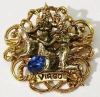 """broche bijou vintage signé """"ART"""" couleur or dieu indou cristal saphir * 4724"""