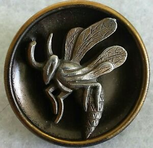 """Vintage  Wasp Button, Pewter Escutcheon on tinted brass cup, 1 1/8"""""""
