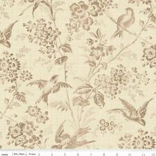 Toile De Jouy Blossom & Bird Sketch Penny Rose 100% Cotton Fabric by the Yard