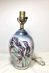 Vintage Handcrafted STONEWARE POTTERY Table Lamp DRAGON FLOWER BLUE PURPLE