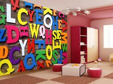 Colorful  Letters  Photo Wallpaper Wall Mural DECOR Paper Poster Free Paste