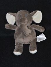 Peluche doudou éléphant brun gris H&M blanc crème 19 cm Etat NEUF