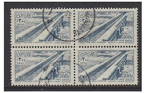 Lebanon - 1954, 300p Canal stamp in a block of 4 - G/U - SG 500