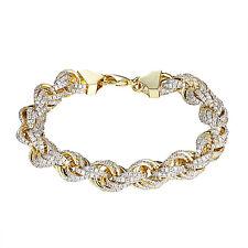 14K Gold Tone Rope Bracelet Iced Out Lab Diamonds Hip Hop Rapper Wear