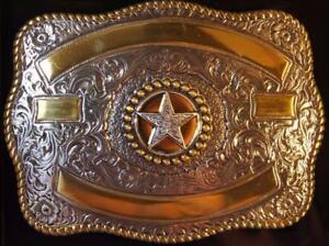 Crumrine Western Rectangle Texas Star  Belt Buckle 3807244