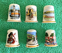 Set Of 6 Scottish Towns Bone China Thimbles, Collectable Scotland Places, S2