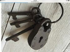 Antique Replica Cast Iron Decorative Lock With 3 Skeleton Keys Nice Patina