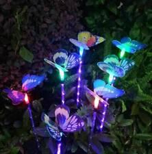 3Pcs Outdoor Solar Garden Light Butterfly Led Lamp Fiber Optic Stake Lights Us