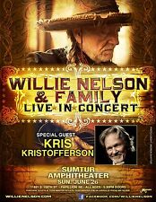 WILLIE NELSON & FAMILY/KRIS KRISTOFFERSON 2016 OMAHA CONCERT TOUR POSTER-Country