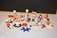Lot Vintage Wooden CHRISTMAS Ornaments Village Miniature Feather
