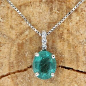 18 k ct Solid White GOLD Natural Genuine EMERALD and DIAMOND Pendant Necklace