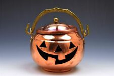 Copper Jack O Lantern Brass Handle Pumpkin Halloween Votive Candle Holder