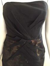 Karen Millen Strapless Cocktail Dress Black/Gold Sequin Sheer Overdress Size 8