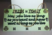 Vintage Irish funny Toast hanging metal wall sign plaque gift present idea