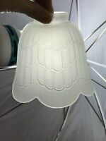 """Vtg Art Deco Nouveau Style Glass Lamp Shade Frosted Scallop Tulip 2 1/8 1/4"""" Fit"""