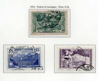 1914 SVIZZERA VEDUTE DI MONTAGNA SERIE COMPLETA 3 VAL. USATI UNIF.N.142-44