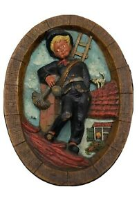 Vintage Wax Folk Art Sculpture 3D Picture German made Hand Carved Lots Of Detail