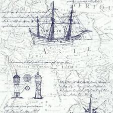 Chic Papier peint feutre P+S Times 42110-40 carte de mer Maritim vintage, rétro