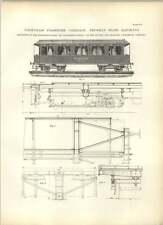 1893 Prussien état chemins de fer première classe-voiture à voyageurs plans Frankfurt