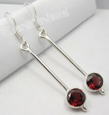 """Inexpensive Long Earrings 2"""" Brand New 925 Solid Silver Low Price Red Garnet"""